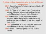 previous cyclical depressions prior to federal reserve being created