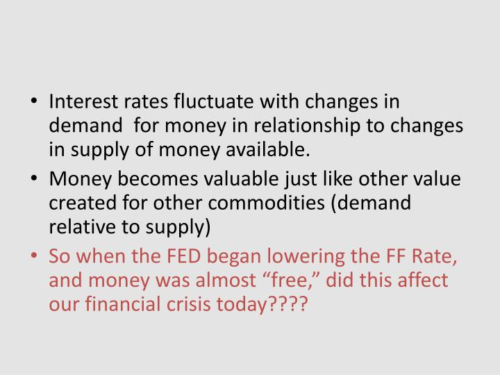 Interest rates fluctuate with changes in demand  for money in relationship to changes in supply of money available.