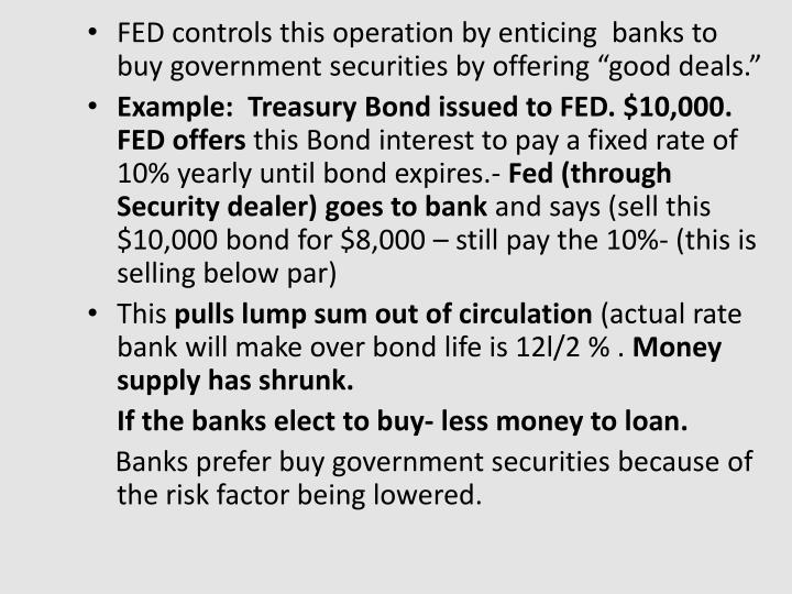 """FED controls this operation by enticing  banks to buy government securities by offering """"good deals."""""""