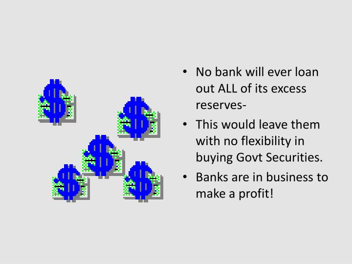 No bank will ever loan out ALL of its excess reserves-