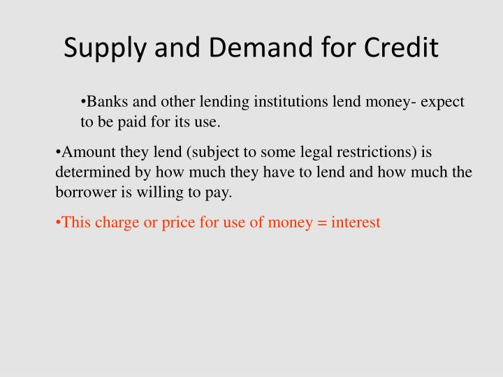 Supply and Demand for Credit