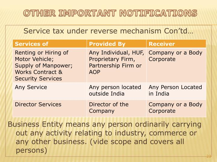 Service tax under reverse mechanism
