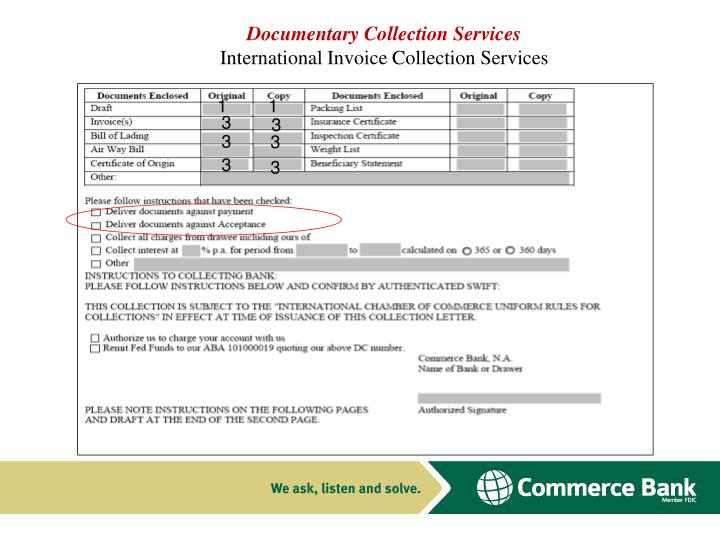 Documentary collection services international invoice collection services