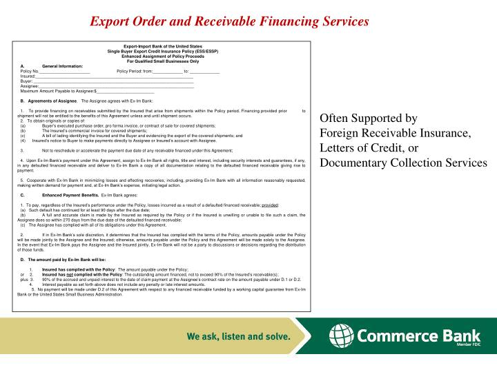 Export Order and Receivable