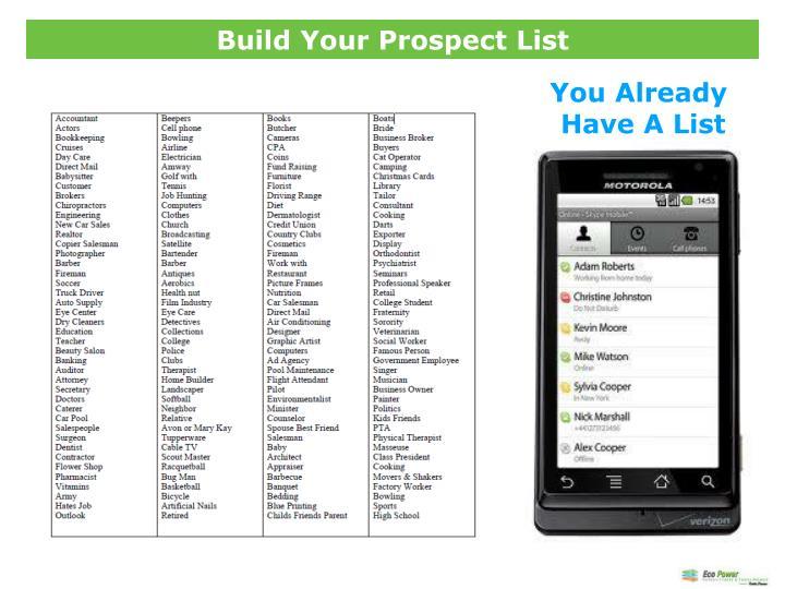 Build Your Prospect List