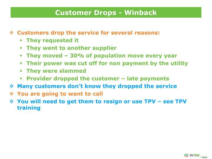 Customer Drops - Winback