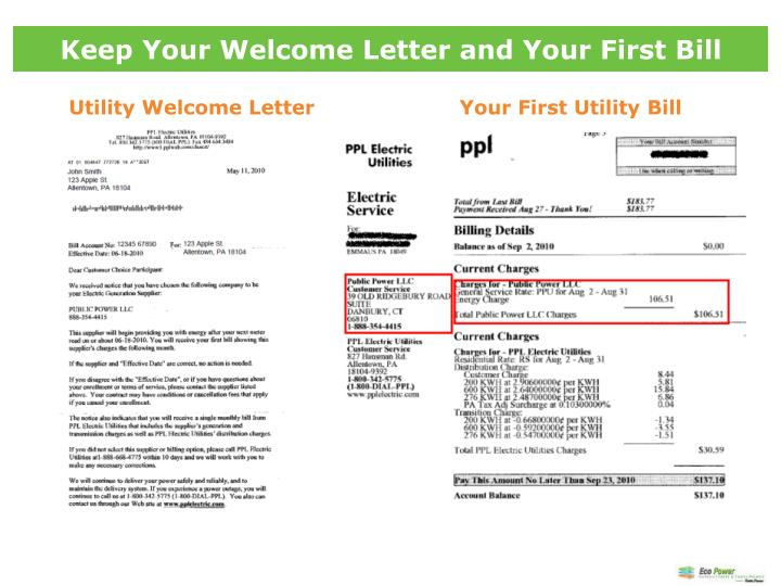 Keep Your Welcome Letter and Your First Bill