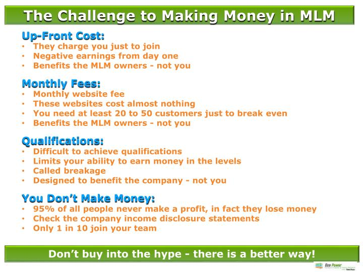 The Challenge to Making Money in MLM