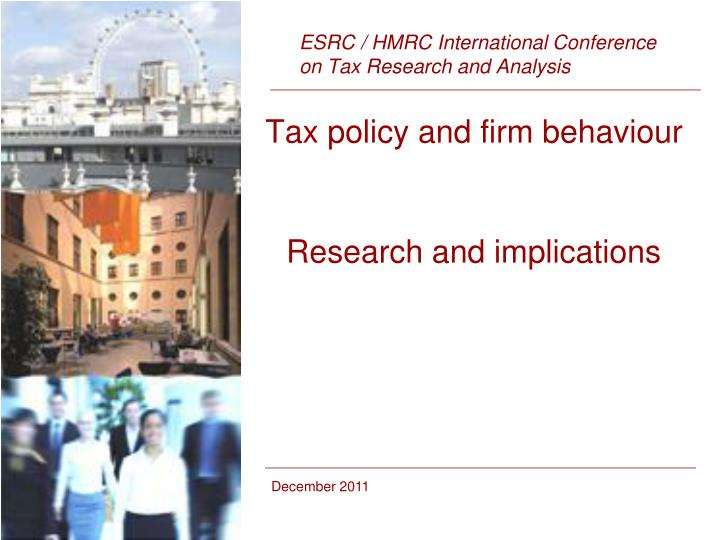 Tax policy and firm behaviour