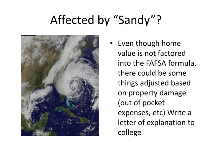 "Affected by ""Sandy""?"