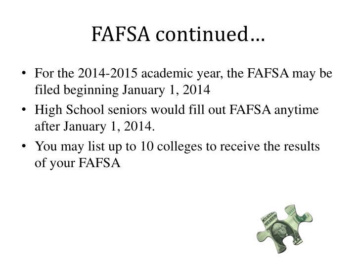 FAFSA continued…