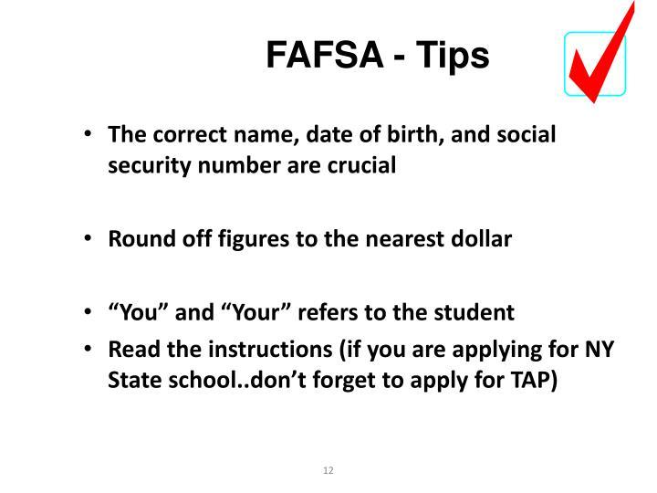FAFSA - Tips