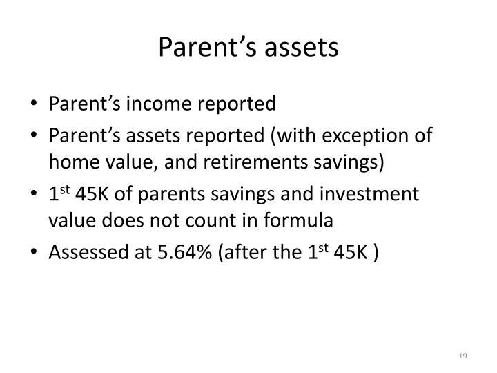 Parent's assets