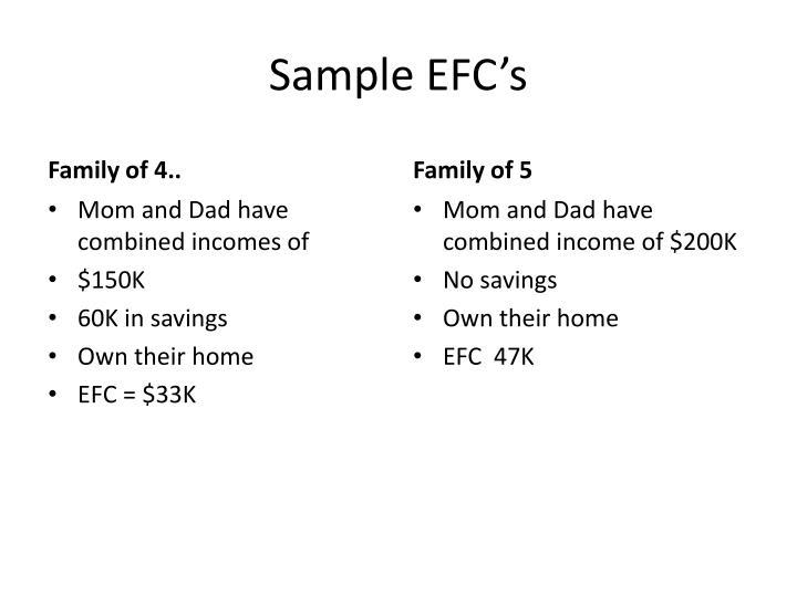 Sample EFC's