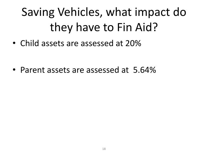 Saving Vehicles, what impact do they have to Fin Aid?