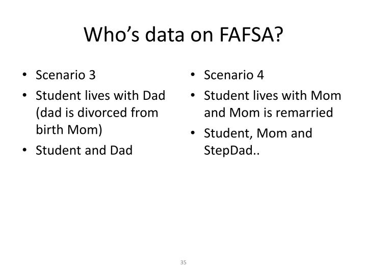 Who's data on FAFSA?