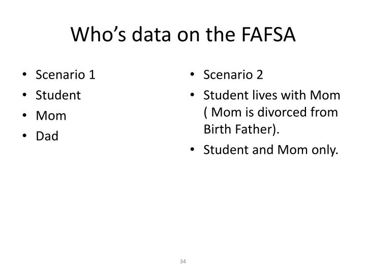 Who's data on the FAFSA