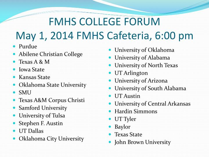 FMHS COLLEGE FORUM