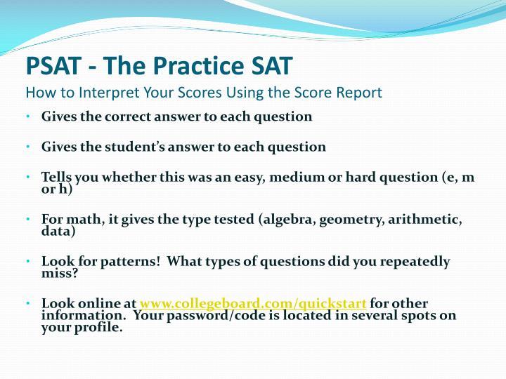 PSAT - The Practice SAT