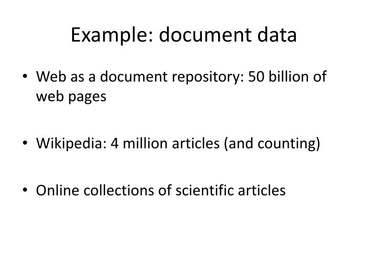 Example: document data