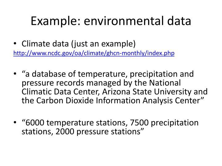 Example: environmental data
