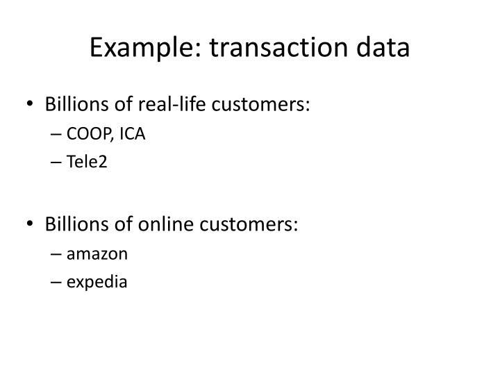 Example: transaction data