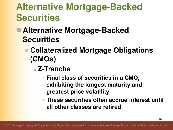 Alternative Mortgage-Backed Securities