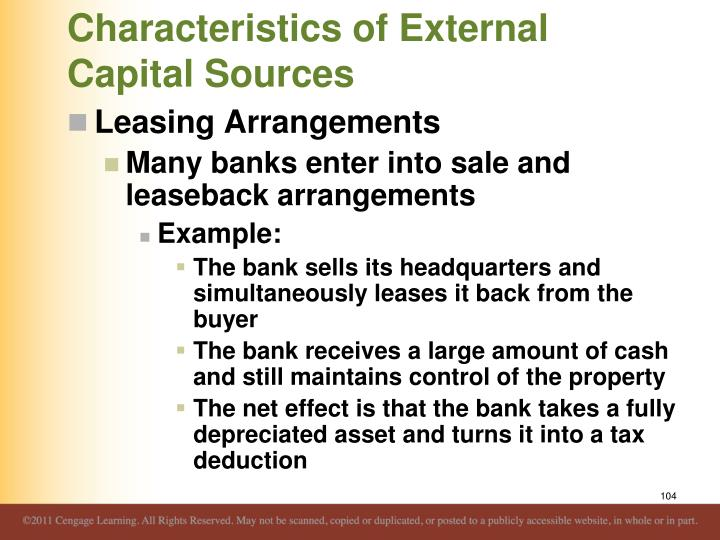 Characteristics of External Capital Sources
