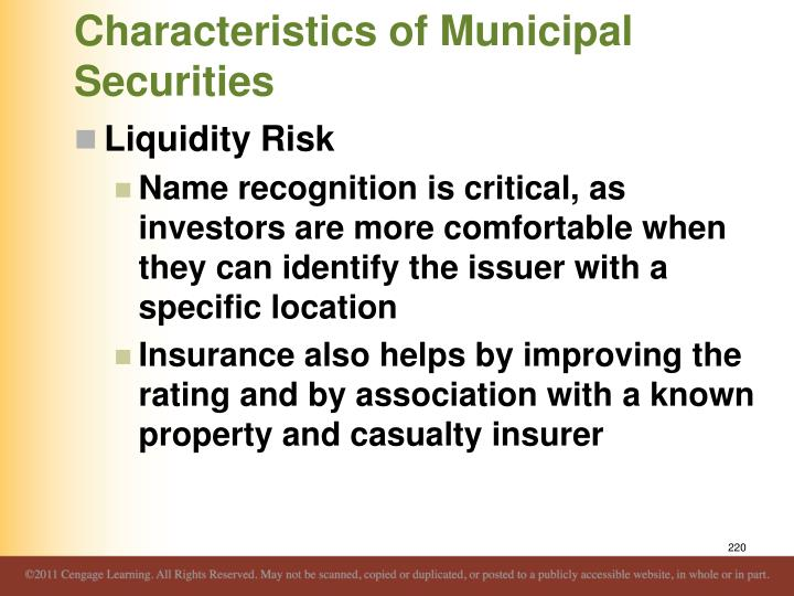 Characteristics of Municipal Securities