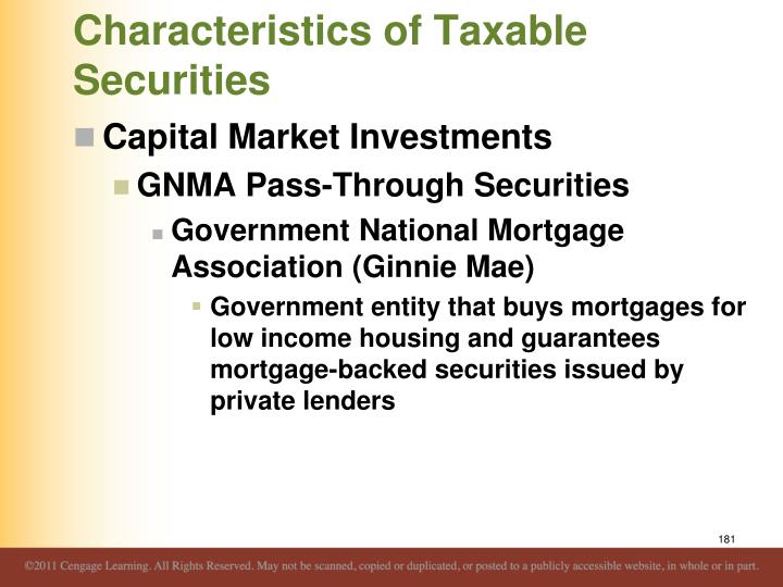 Characteristics of Taxable Securities