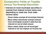 comparative yields on taxable versus tax exempt securities