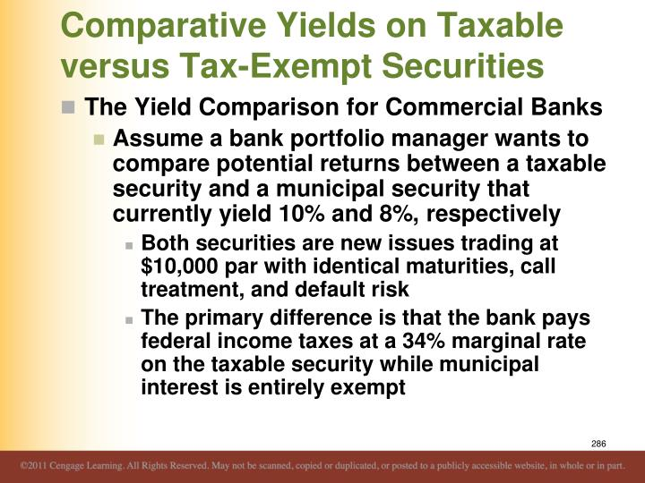 Comparative Yields on Taxable versus Tax-Exempt Securities