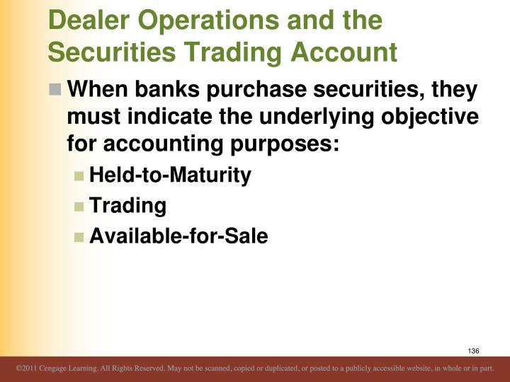 Dealer Operations and the Securities Trading Account