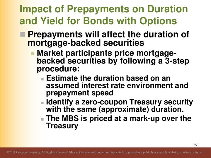 Impact of Prepayments on Duration and Yield for Bonds with Options