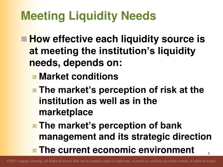 Meeting liquidity needs1