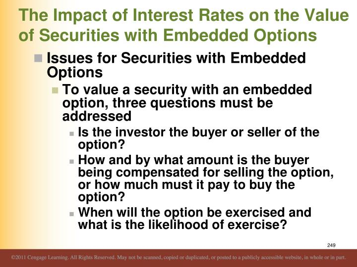 The Impact of Interest Rates on the Value of Securities with Embedded Options