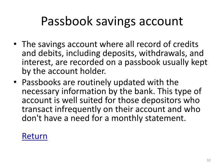 Passbook savings account