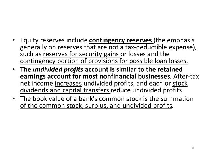 Equity reserves include