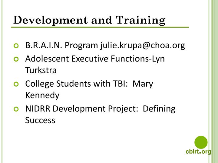 Development and Training