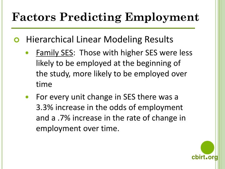 Factors Predicting Employment