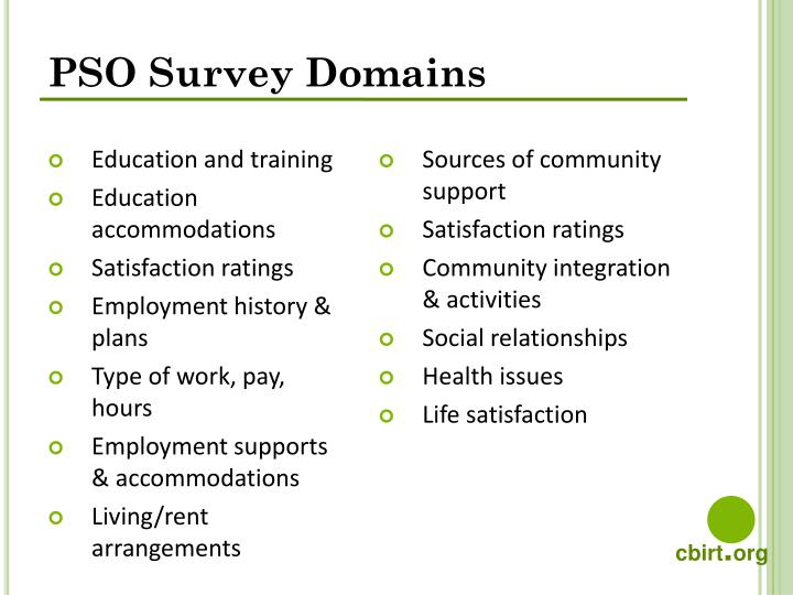 PSO Survey Domains