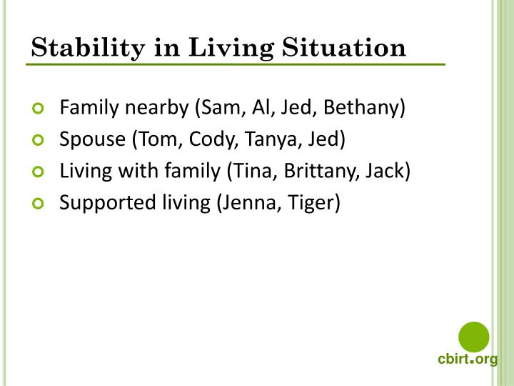 Stability in Living Situation