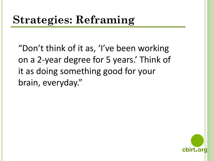 Strategies: Reframing