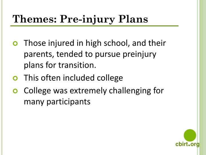 Themes: Pre-injury Plans