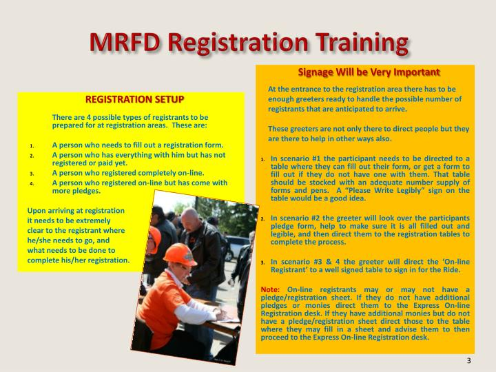 MRFD Registration Training