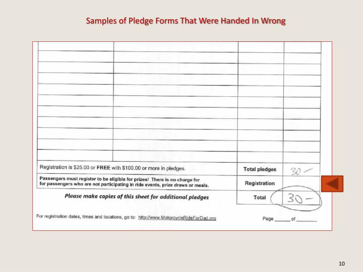 Samples of Pledge Forms That Were Handed In Wrong