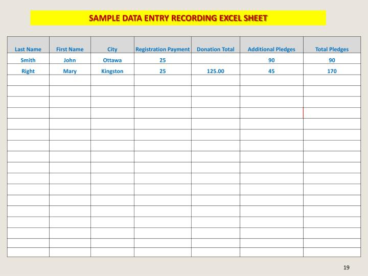 SAMPLE DATA ENTRY RECORDING EXCEL SHEET