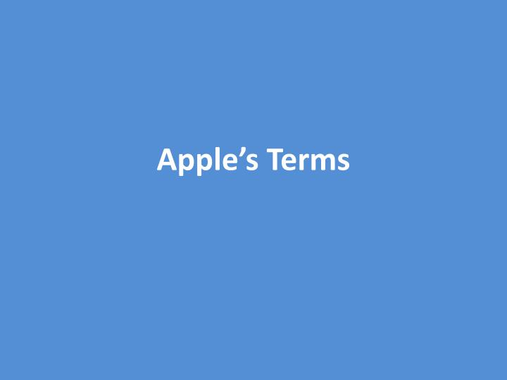 Apple's Terms
