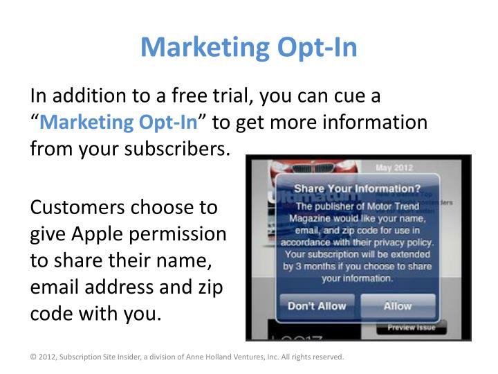Marketing Opt-In