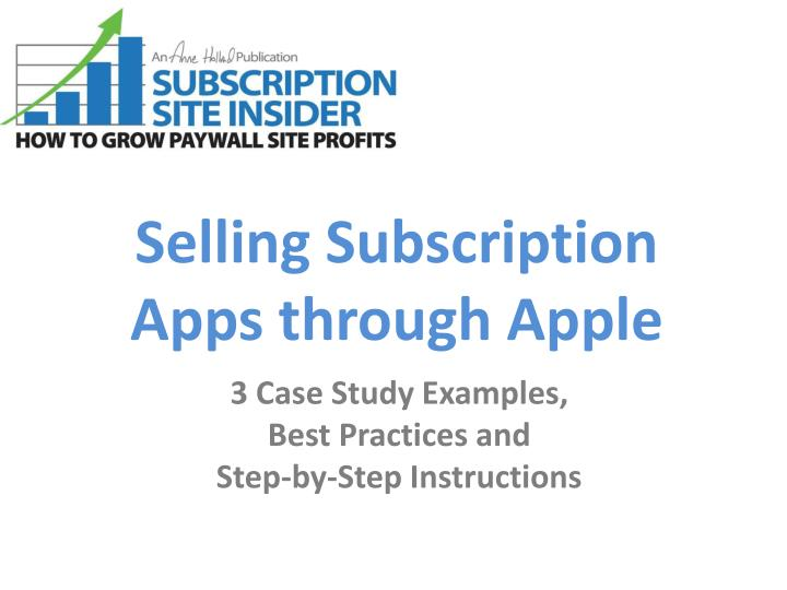 Selling subscription apps through apple